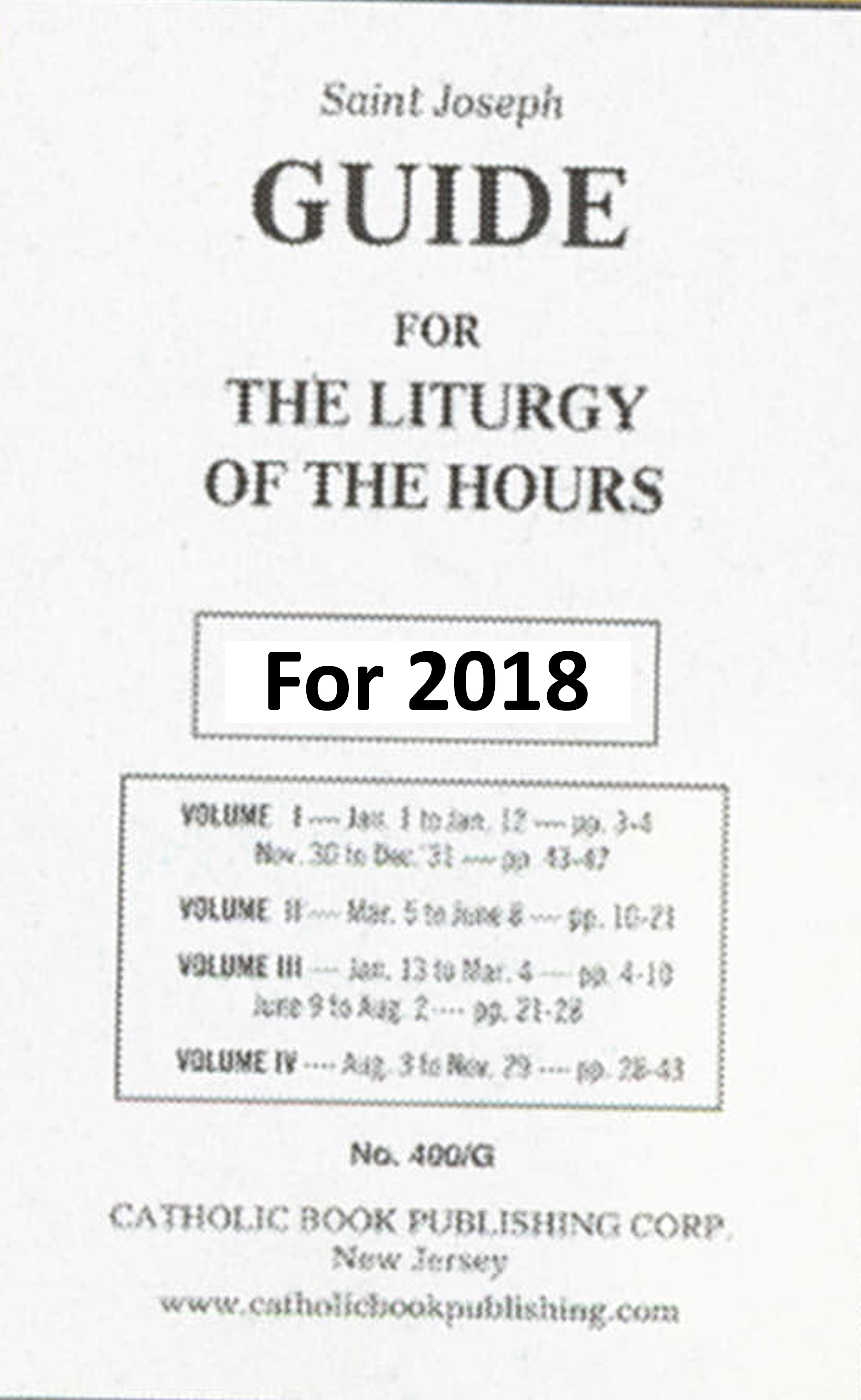 St. Joseph Guide for Liturgy of the Hours 2018