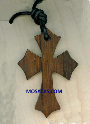 2 Inch Flared Pointy Wood Cross Necklace 353-5103255479