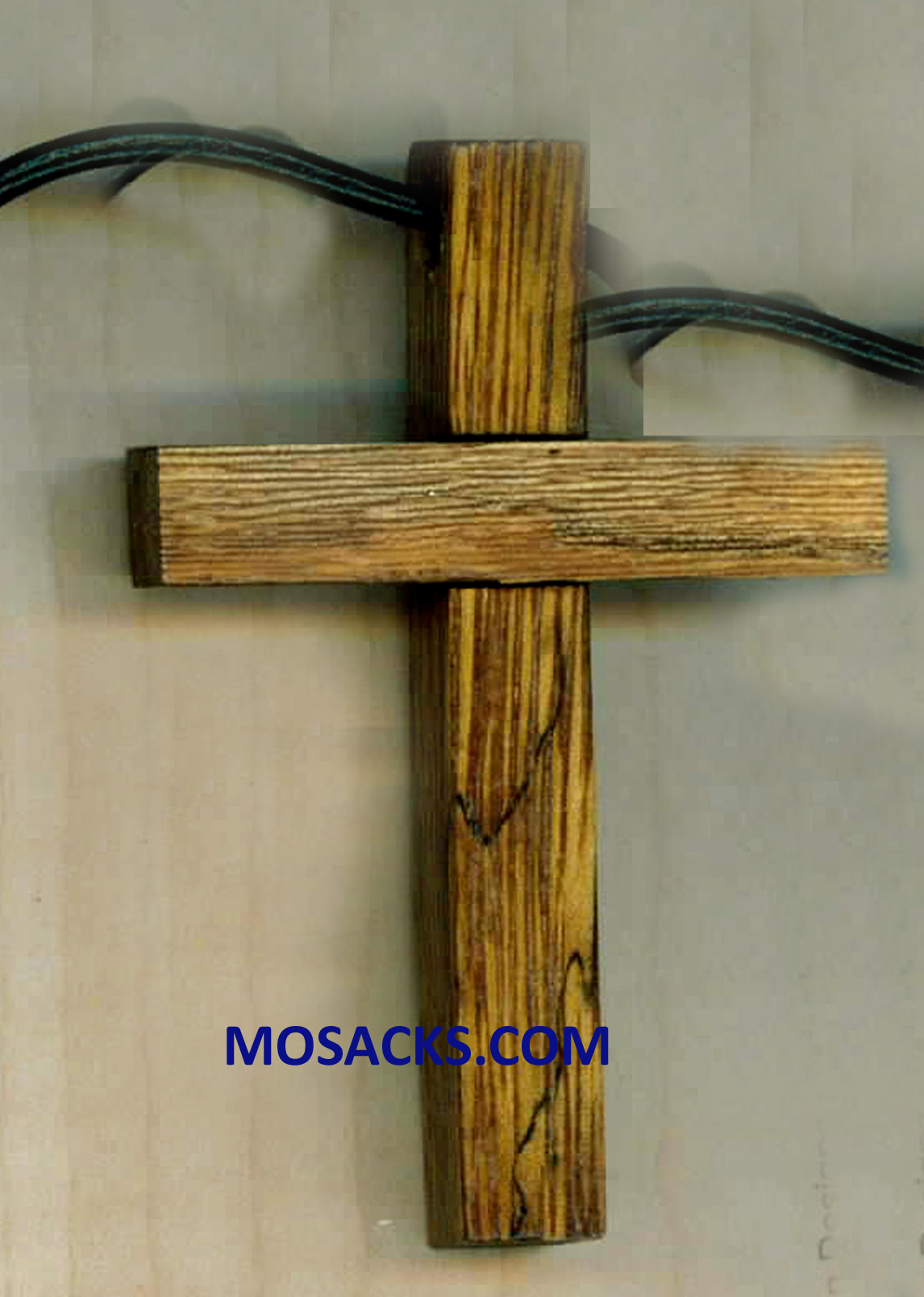 2 Inch Raised Blocks Wood Cross Necklace 353-5103255517