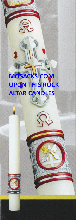 eximious Beeswax Paschal Candle Upon This Rock™ Complementing Altar Candles by the pair with FREE SHIPPING