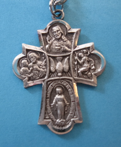 "4-Way Holy Spirit Sterling Medal w/24"" S Chain"
