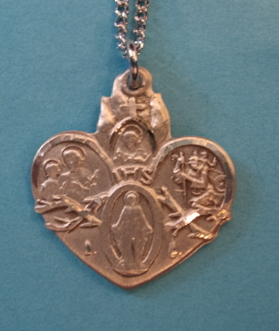 "4-Way Heart Sterling Medal w/18"" S Chain"