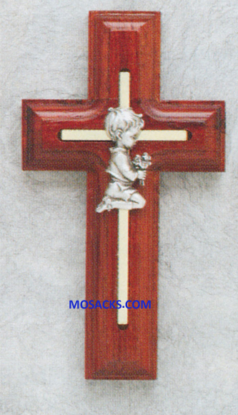 5 Inch Rosewood Cross With Praying Boy 64-17309
