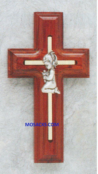 5 Inch Rosewood Cross With Praying Girl 64-17310