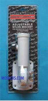 Adjustable White Nylon Flagpole Bracket, #60700