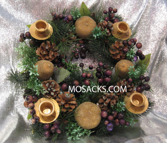 Advent Wreath, Gold Metal Frame, Grapes, Pears, Pinecones, Greenery #24119