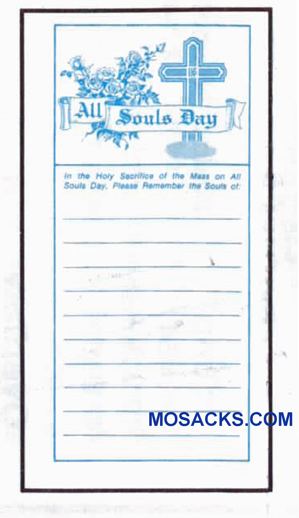 All Souls Day Offering Envelope 6-1/4 x 3-1/8 #304-332