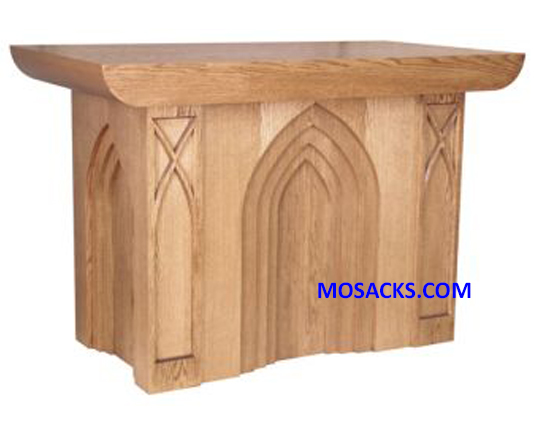 "Altar - Wood Altar w/ Gothic Arches 72"" wide x 38"" deep x 40"" high 40-636"