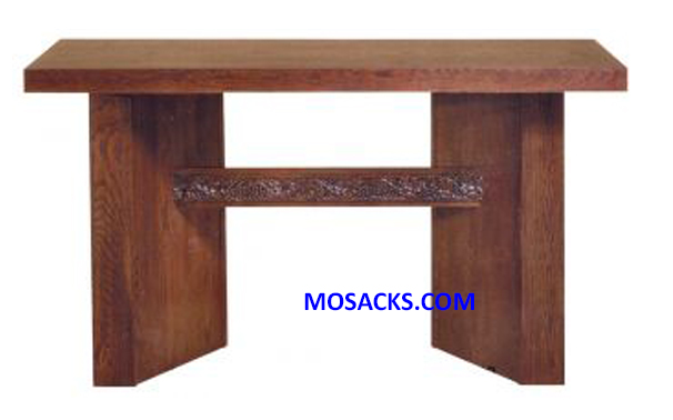 "Altar - Wood Altar with Grapevine Band Design on crossbeam Altar measures 60"" wide x 30"" deep x 40"" high 40-5066  FREE SHIPPING"