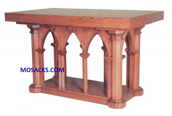 "Altar - Wood Altar With Gothic Arches 84"" wide x 36"" deep x 39"" high 40-537"