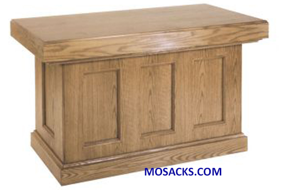 "Altar - Wood Altar with Recessed Panels 40-419 measures 60"" wide x 30"" deep x 39"" high.  Altar has an enclosed back  FREE SHIPPING"