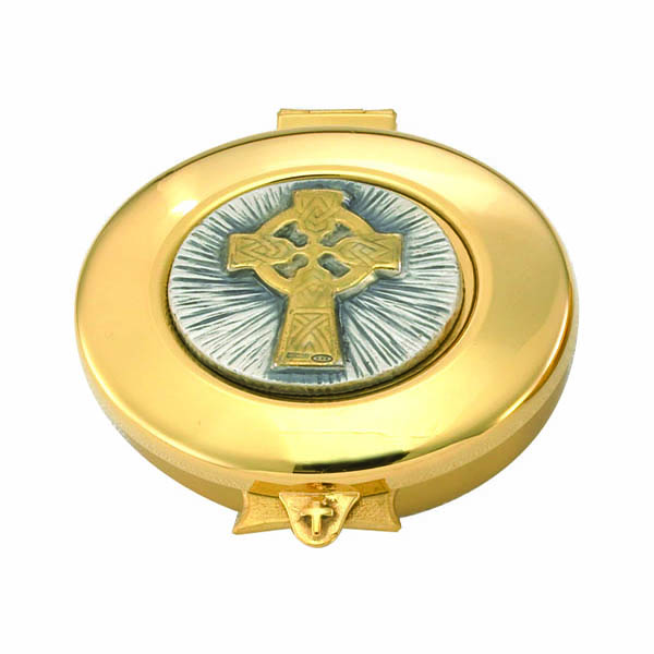 "Church Supplies: This is a 24 Kt Gold Plate with Celtic Cross Design Pyx and 12 Host capacity by Alviti Creations 9952G.    Made in USA, this Pyx measures 2-1/2 x 1-1/8"" and has a Satin Finish Inside"