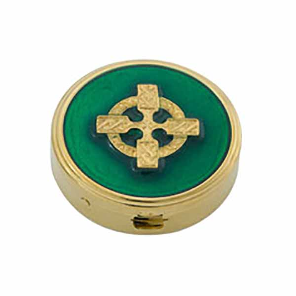 "Pyx Gold Plate Celtic Cross, 6 host, 1 5/8x1/2""-2214G Alviti"