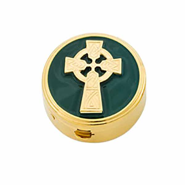 "Pyx Gold Plate Celtic Cross on Green, 6 Host, 1 5/8x1/2"" - 8670G Alviti"