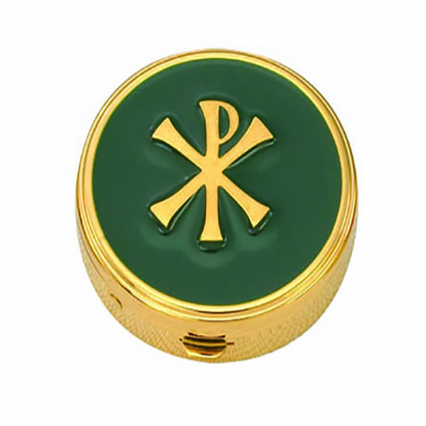 "Pyx Gold Plate Chi Rho on Green, 6 Host, 1 5/8x1/2"" - 8671G Alviti"