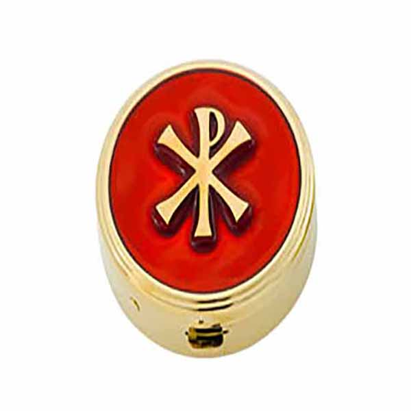 "Pyx Gold Plate Chi Rho on Red, 6 Host, 1 5/8x1/2"" - 2220G/R Alviti"