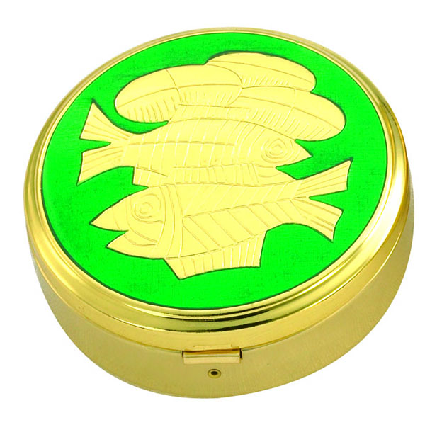 "Pyx Gold Plate Fish with Green 45 Host 3-3/8 x 1-1/4"" - 3253G/G Alviti"