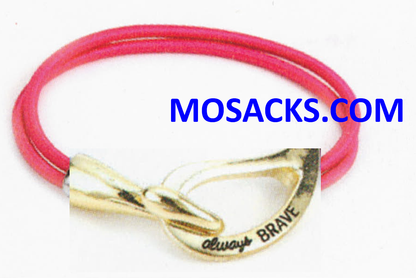 Always Brave Cancer Awareness Bracelet Gold Dark Pink 452-220841