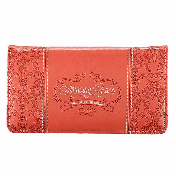 Amazing Grace Coral LuxLeather Checkbook Cover-6006937122802