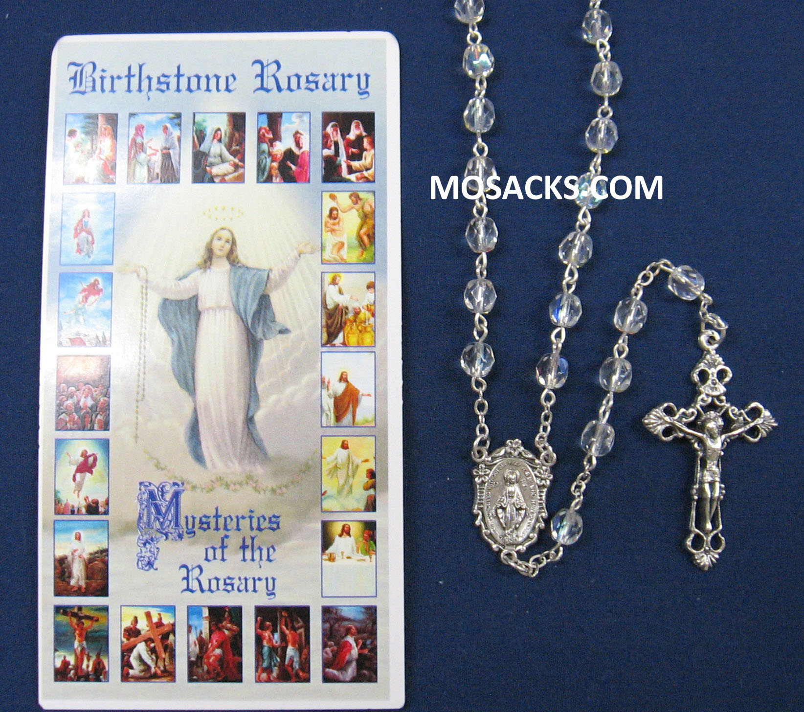 April Crystal Aurora Borealis Birthstone Rosary 64-307/CR/C1