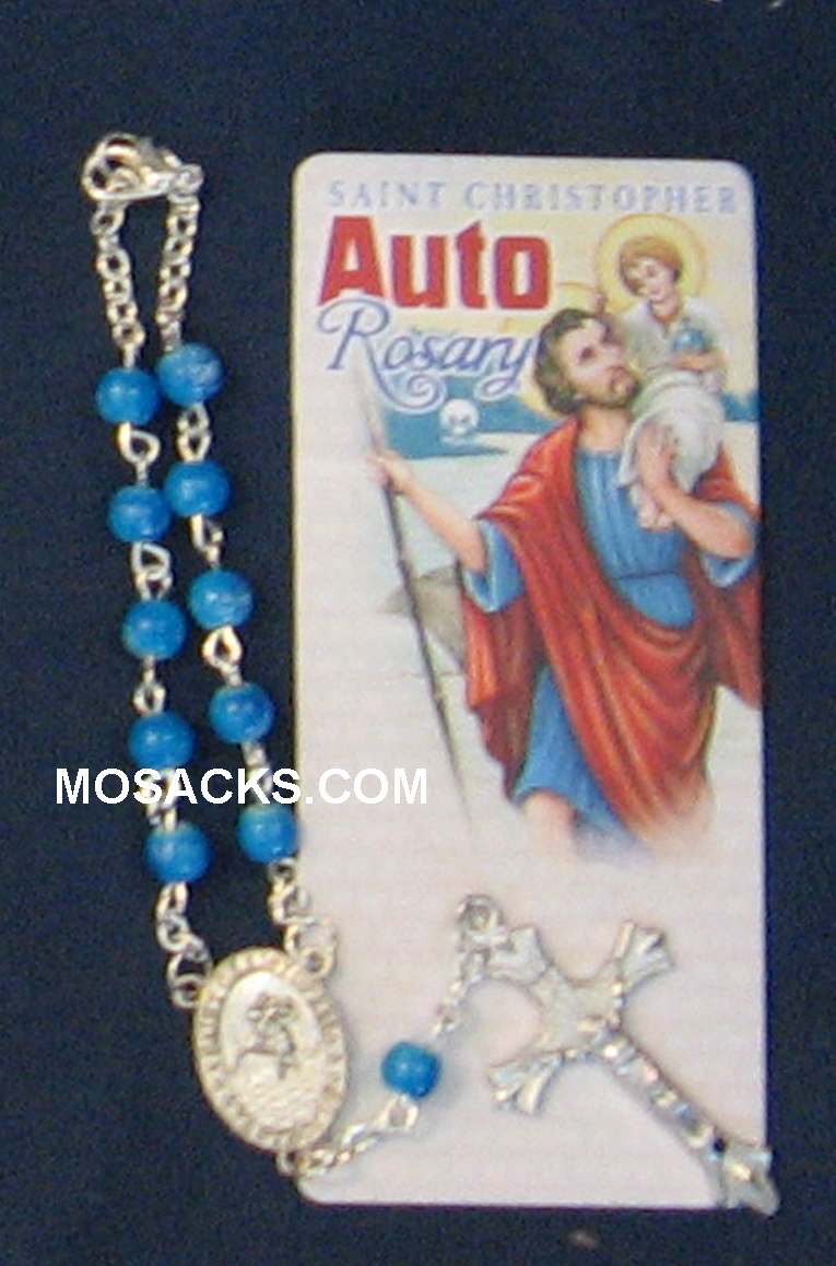 Auto One Decade Rosary St Christopher Blue Marble238-4843224C