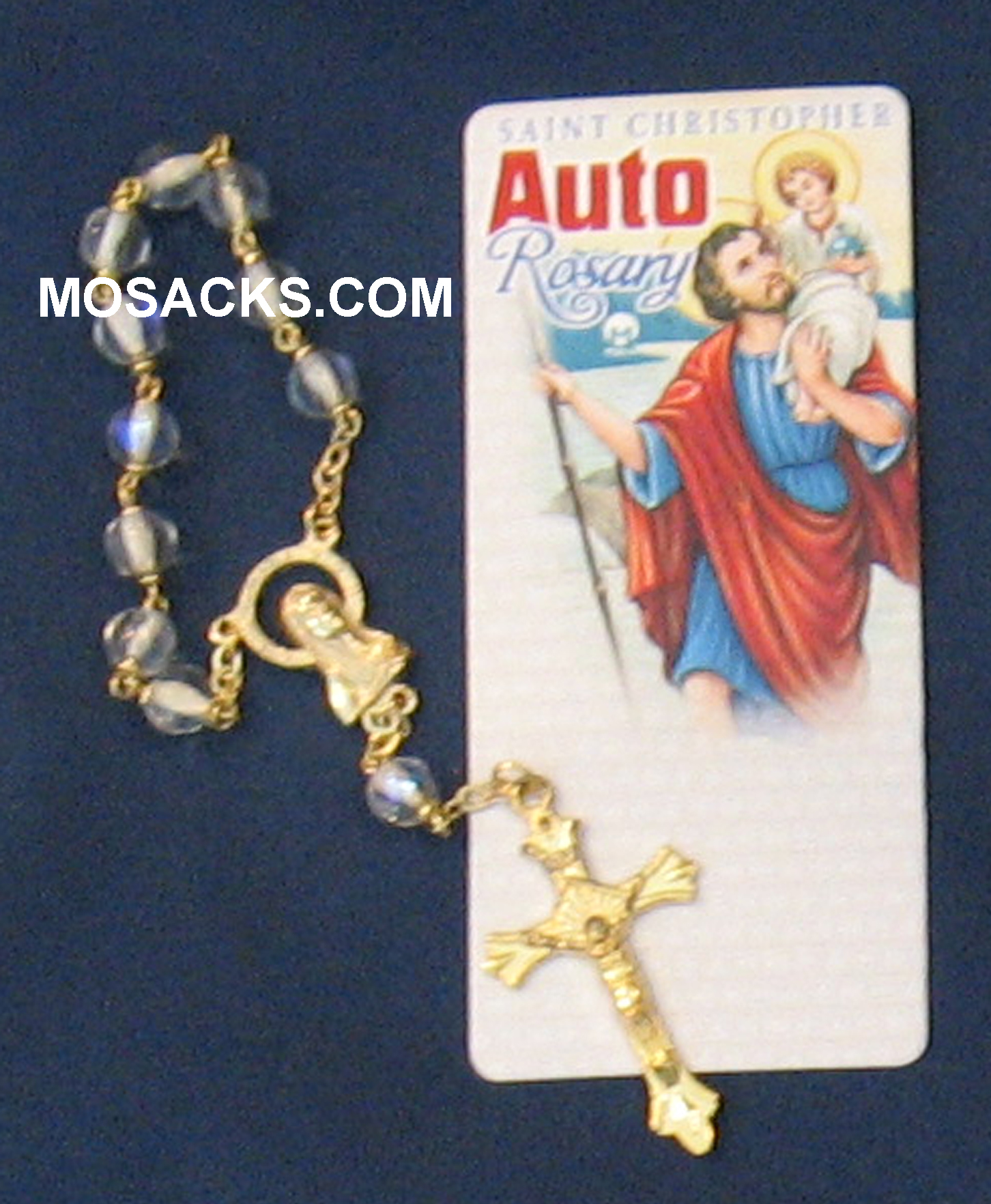 Auto  One Decade Rosary St Christopher Crystal 238-4843008C