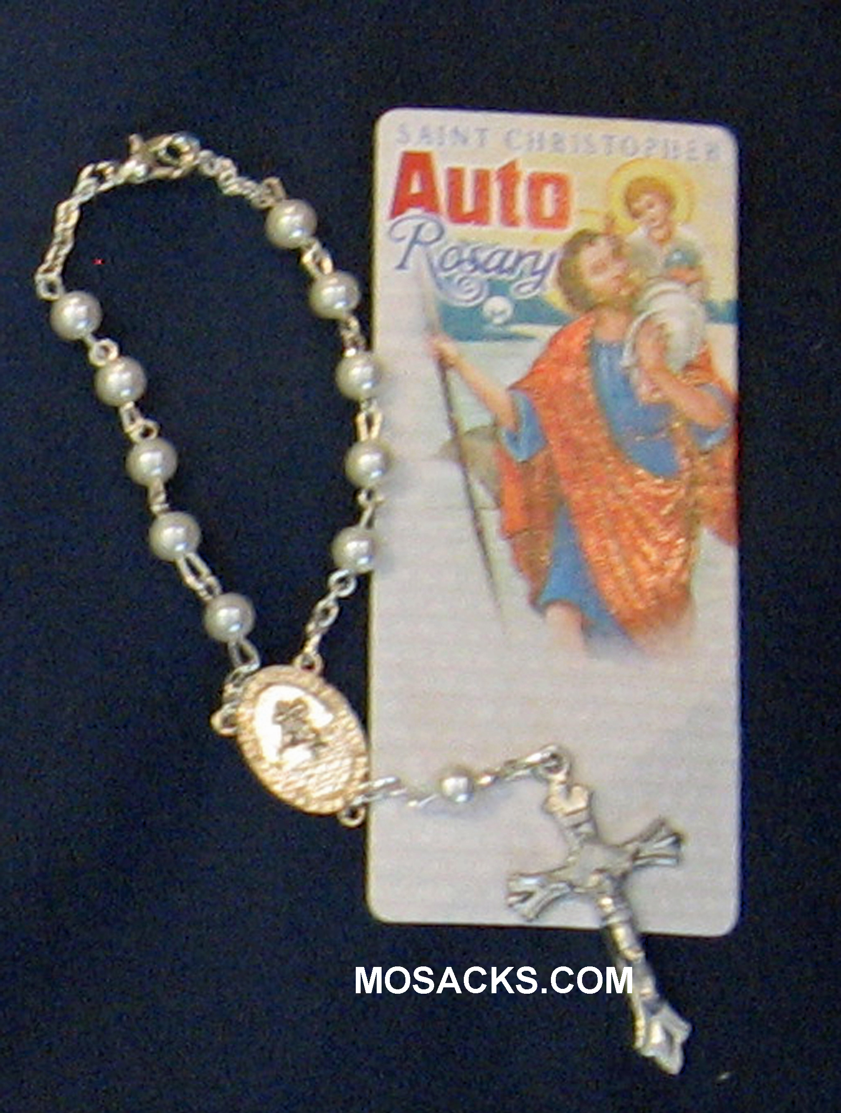 Auto  One Decade Rosary St Christopher Pearl 238-4843115C