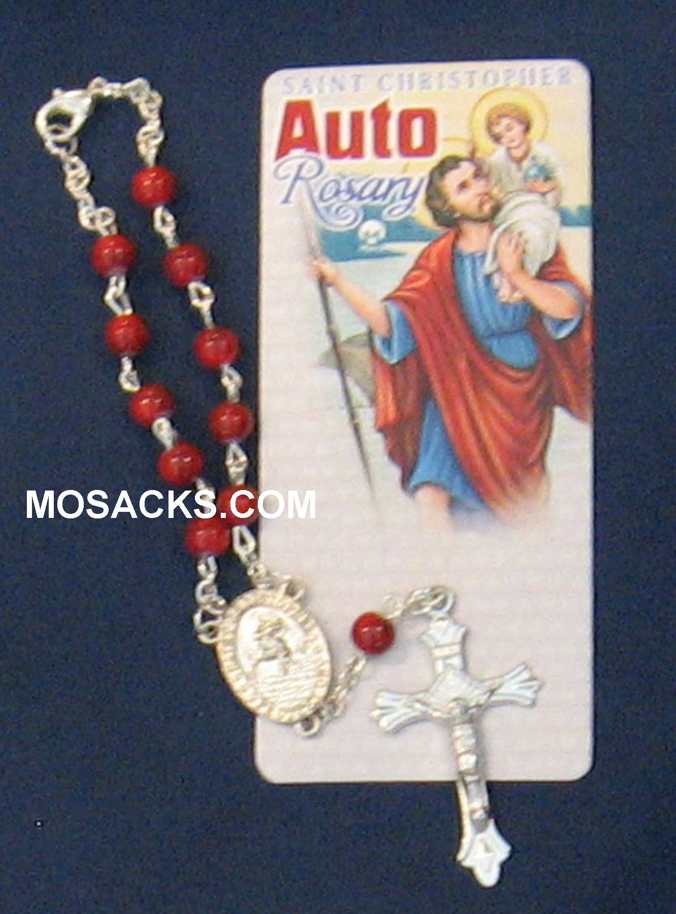 Auto One Decade Rosary St Christopher Ruby Marble 238-4843209C