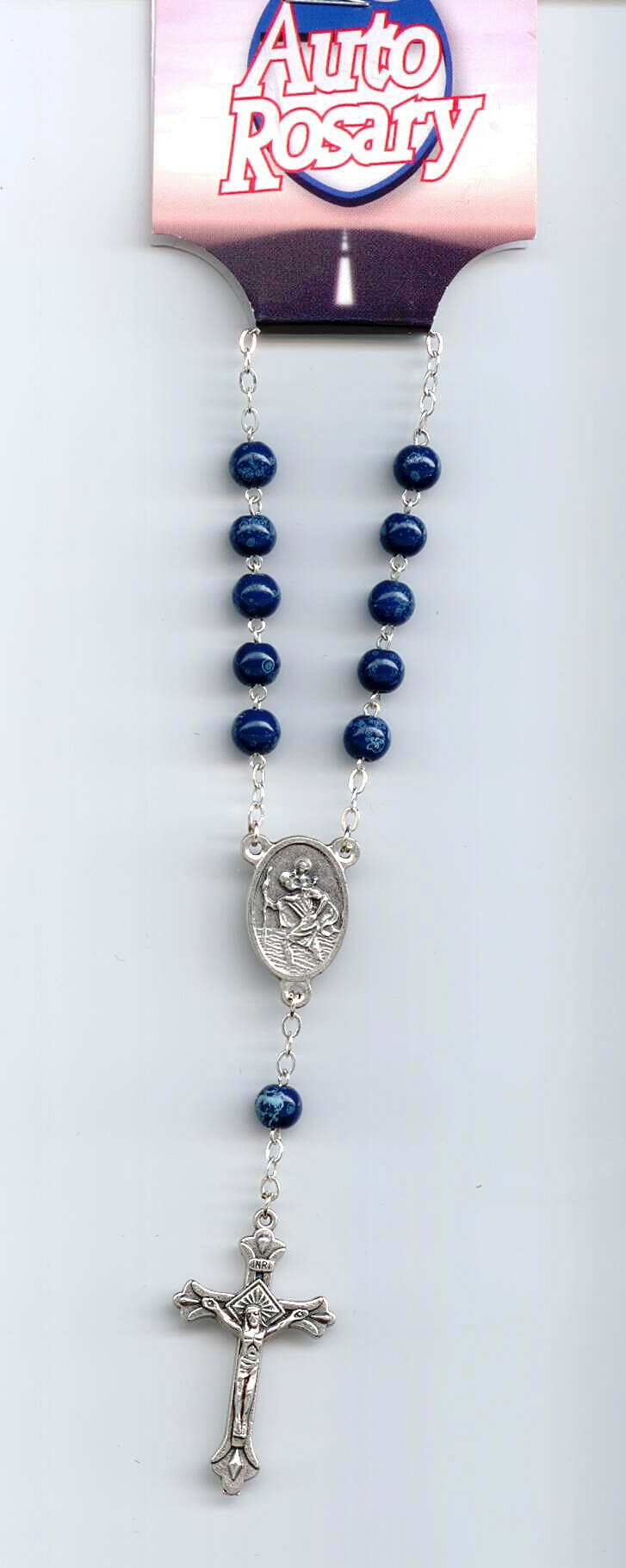 St. Christopher Blue Auto Rosary #48-422-04