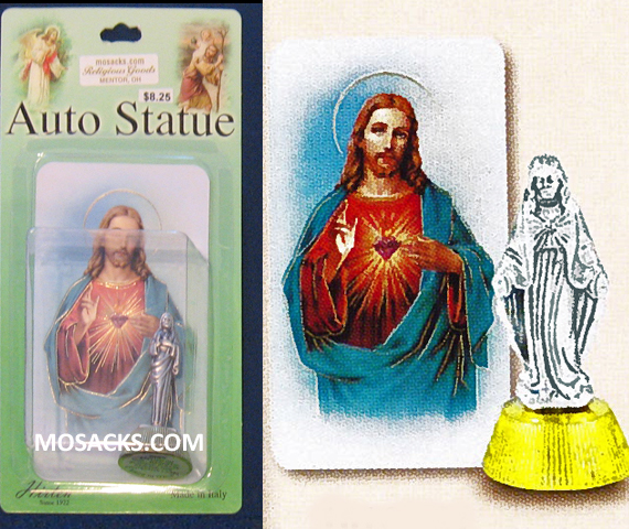 Auto Statue Sacred Heart Antique Silver 12-1616-101