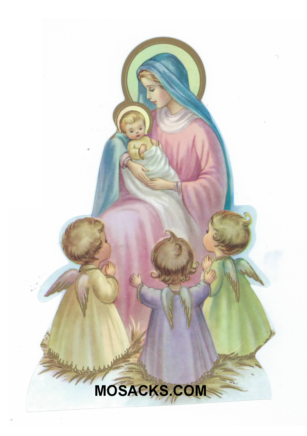 Baby Jesus Mary and Children Paper Cutout-X90-4