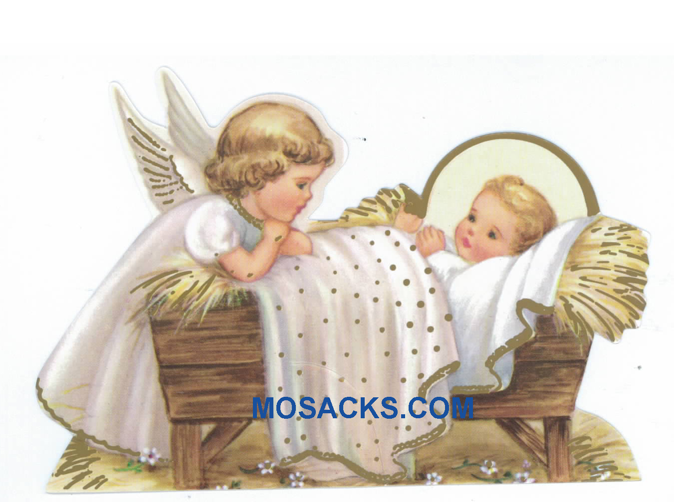 Baby Jesus in Manger and Angel Paper Cutout-X902