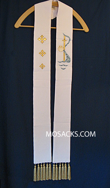 Baptism Overlay Stole in White, Theological Threads #078619A