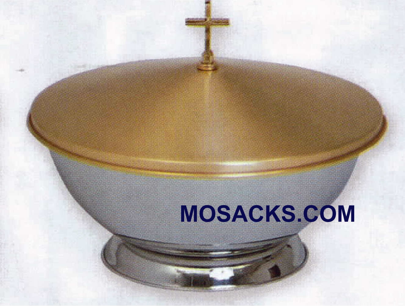 "Baptismal Font Portable 16"" Stainless Steel Bowl Satin Bronze Cover - K351"