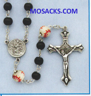 Baseball Black Glass Rosary 64-60965/BK/BSBL