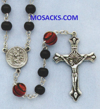 Basketball Black Glass Rosary 64-60965/BK/BSKT