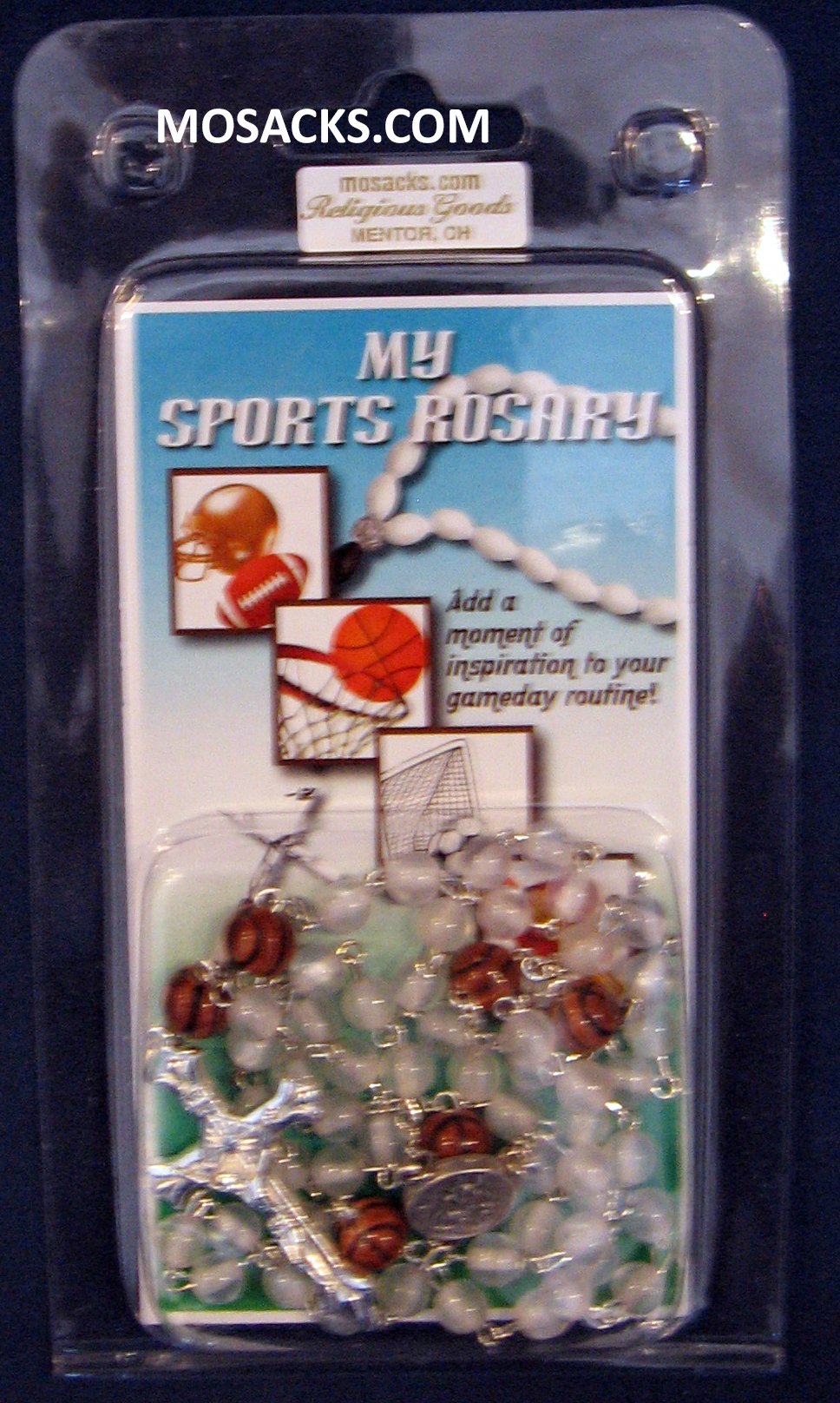 Basketball White Glass Rosary 64-60465/WH/BSKT