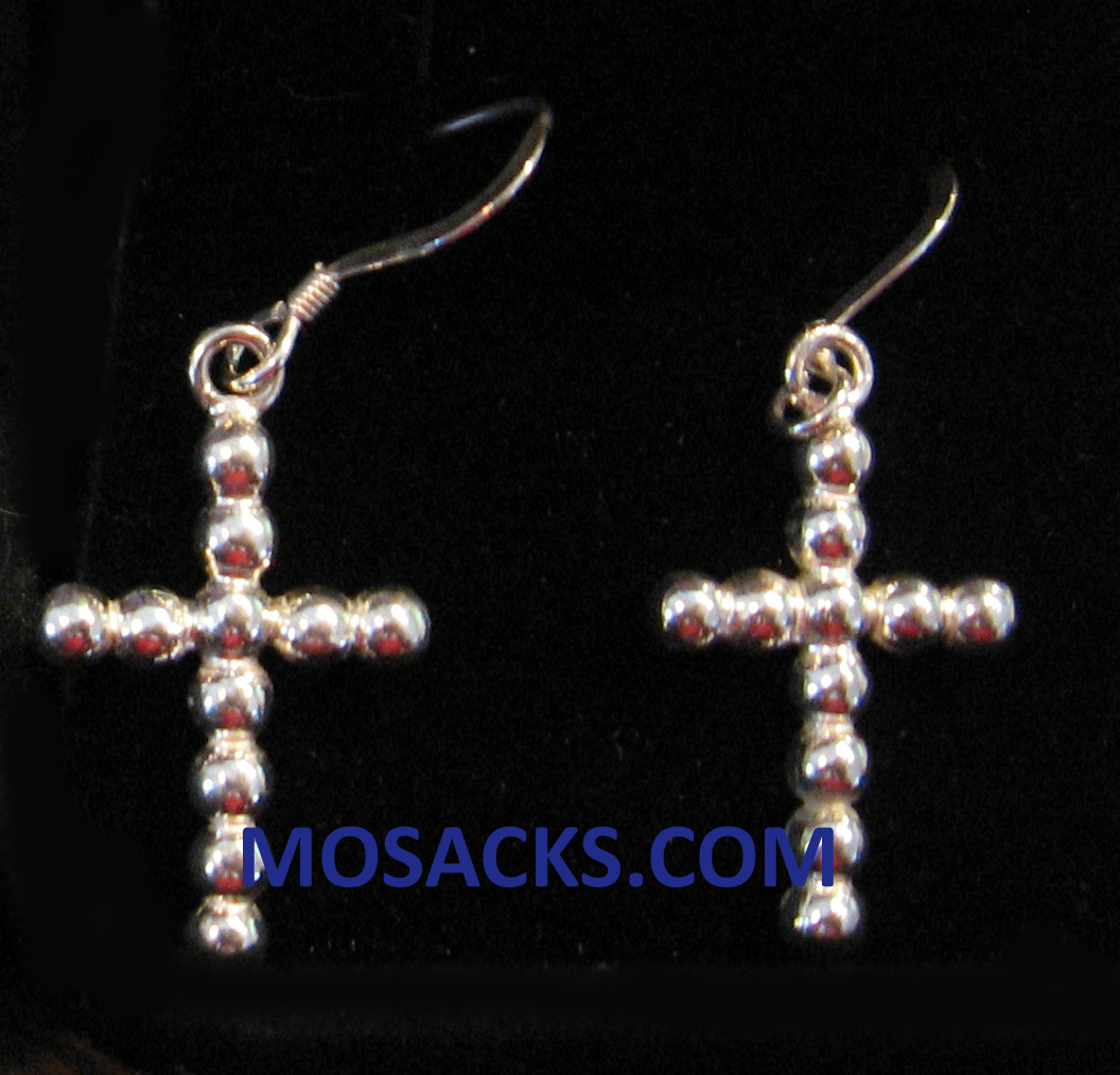 Beaded Cross Sterling Silver Earrings SSE31