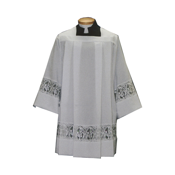 Beau Veste Surplice Alpha Omega/Chi Rho Lace Insertion 10-4292