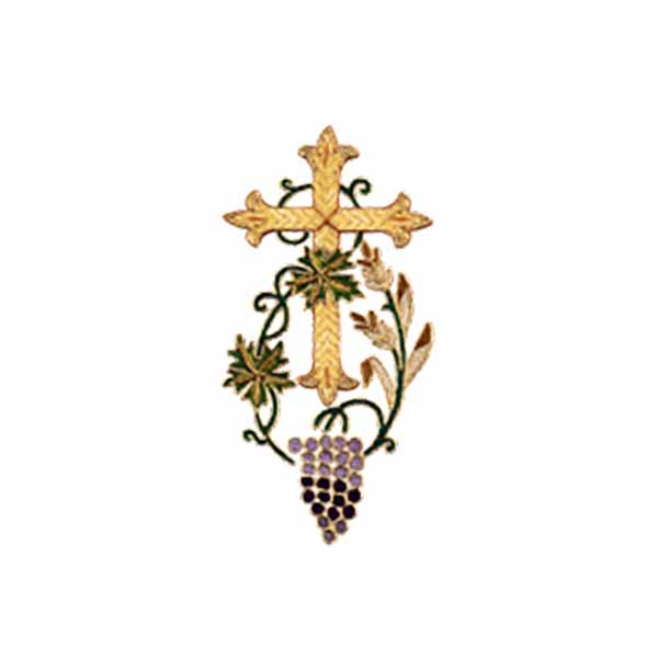 Hand Embroidered Gold Metallic Beau Veste Applique Grapevine Cross1350