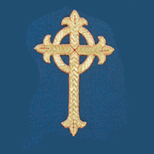 Hand Embroidered Gold Metallic Beau Veste Applique Celtic Cross 1090