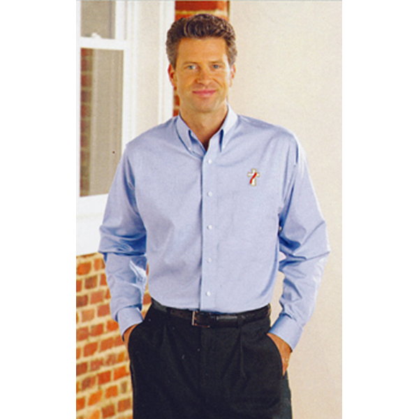 Beau Veste Oxford Long Sleeve Deacon Shirt-8900 series in Size 3XL in White and Light Blue