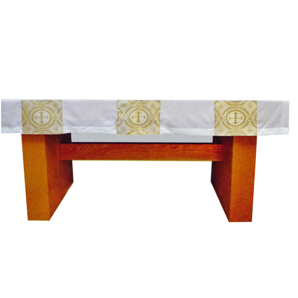 Beau Veste White Satin Gold Brocade 72 Inch Altar Cloth-2050