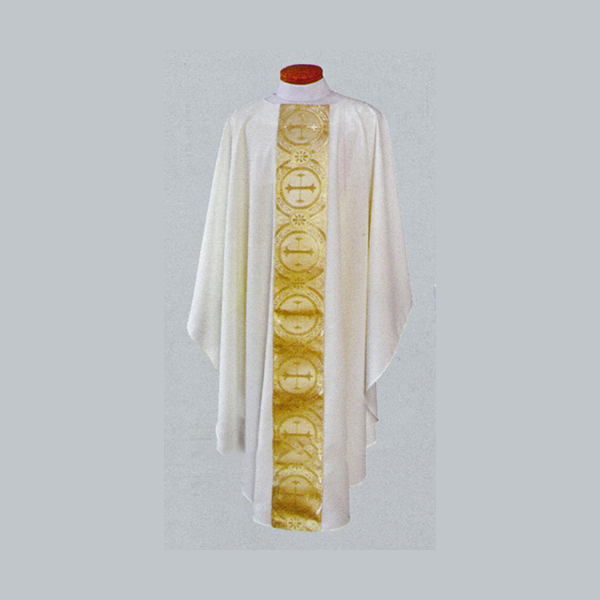 Beau Veste White Satin Gold Brocade Chasuble-2040