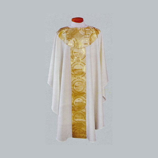 Beau Veste White Satin Gold Brocade Concelebrant Chasuble-2041