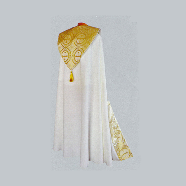 Beau Veste White Satin Gold Brocade Cope-2043