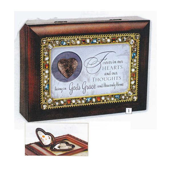 Bereavement Music Box with Locket  plays tune Amazing Grace JM347SW Jeweled Music Box