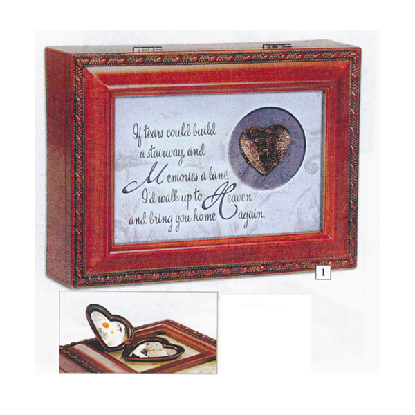 Bereavement Music Box with Locket plays tune Amazing Grace with Locket MB2121S