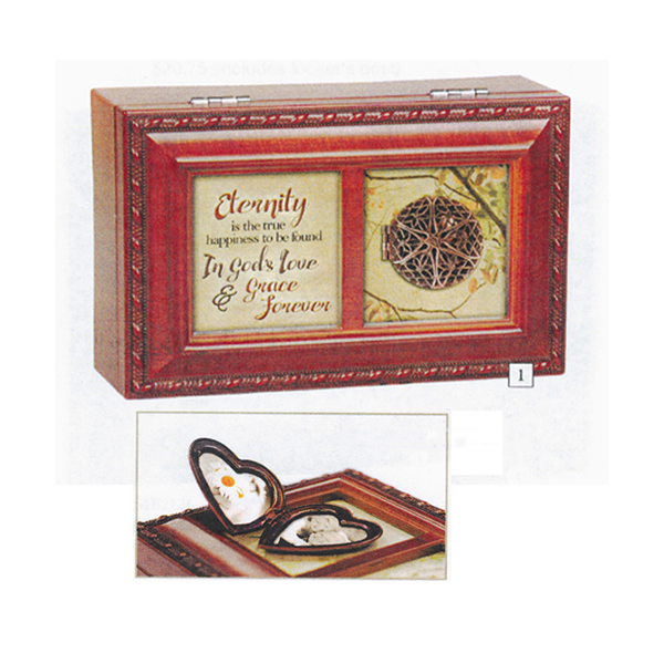 Bereavement Music Box with Locket plays tune Friend in Jesus PM5796S Petite Music Box
