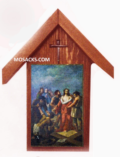 "Bertucci Stations Of The Cross  Cedar Rustic Shrine Set with 4x6"" Plates"